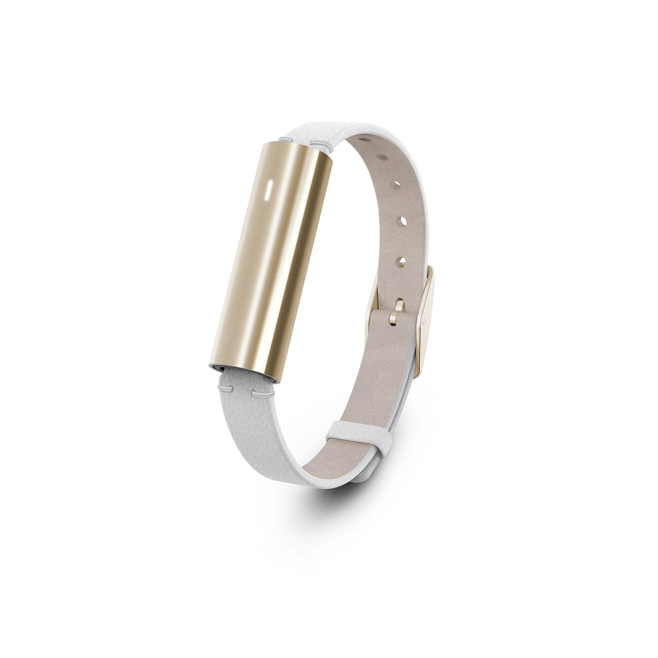 Misfit Ray - Fitness + Sleep Tracker with White Leather Band (Stainless Steel Gold)