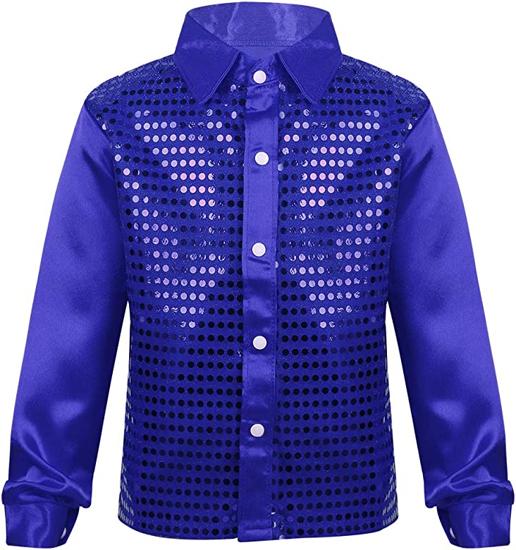 dPois Camisa de Manga Larga Niño Niña Camisa Hip Hop Top con Lentejuelas Brillo Blusa para Coro Danza Jazz Baile Actuación Escena Música Fiesta Navidad Carnaval para Chicos Azul 4-5 Años: Amazon.es: