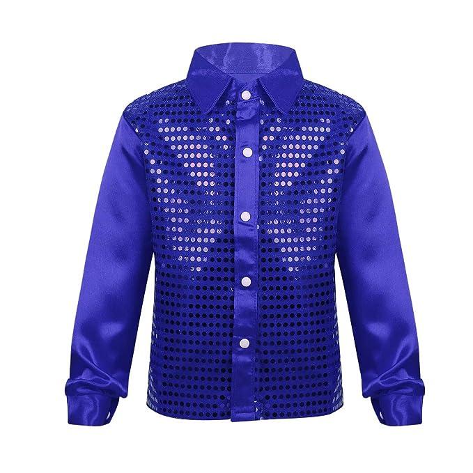 iixpin Blusa Camisa de Manga Larga Niña Niño Unisex Camisa Hip Hop Top  Lentejuelas Brillo Blusa para Coro Danza Jazz Baile Actuación Escena Música  Fiesta ... 182da415810