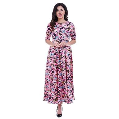 ROZVEH Women s Pink Butterfly Print Designer Maxi Dress  Amazon.in ... f1746da981