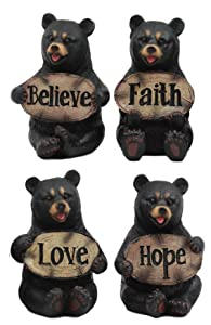 Ebros Set of 4 Inspirational Bears Statues Whimsical Cute Black Bear Holding Love Believe Faith and Hope Sign Plaque Small Figurines Western Decor Rustic Nature Lovers