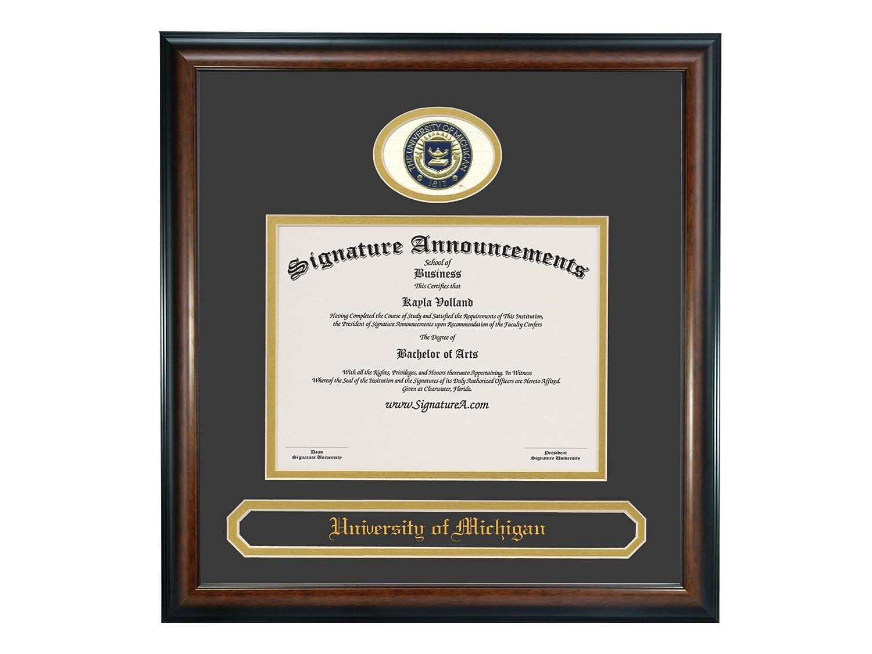 Name /& Tassel Graduation Diploma Frame Professional//Doctor Sculpted Foil Seal Signature Announcements University of Michigan-Dearborn Undergraduate Matte Mahogany 16 x 16