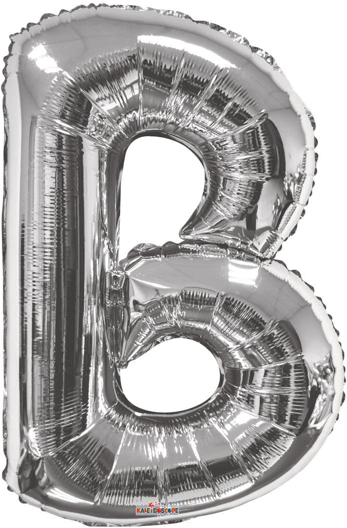 34 Kaleidoscope Jumbo Letter E Foil Mylar Balloon Silver
