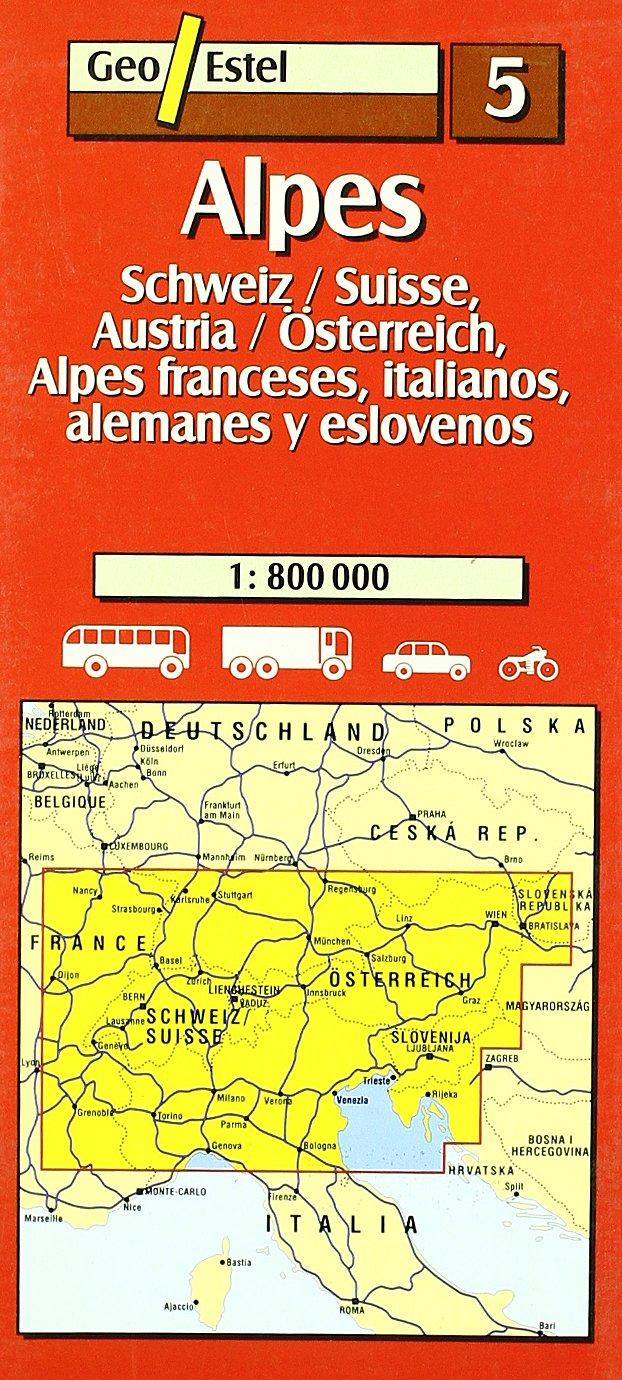 Alpes. Schweiz / Suisse, Austria / Österreich, Alpes franceses, italia Mapas de carreteras. Comunidades autónomas y regio: Amazon.es: Mapes de Geoestel: Libros