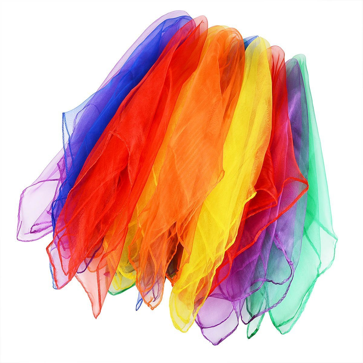 Qinlee 12pcs (couleur assortie) Multi-Color Foulards Danse Foulards Ourlé Jonglage, 6 Colors (60cm x 60cm)  6 Colors (60cm x 60cm)