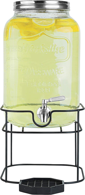 2 Gallon Glass Beverage Dispenser with Stainless Steel Spigot on Metal Stand - Decorative Mason Jar Dispenser For Sun Tea, Iced Tea or Kombucha