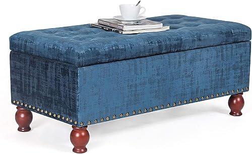 Edeco 40″ Rectangular Button Tufted Velvet Storage Ottoman Bench Blue - a good cheap ottoman chair