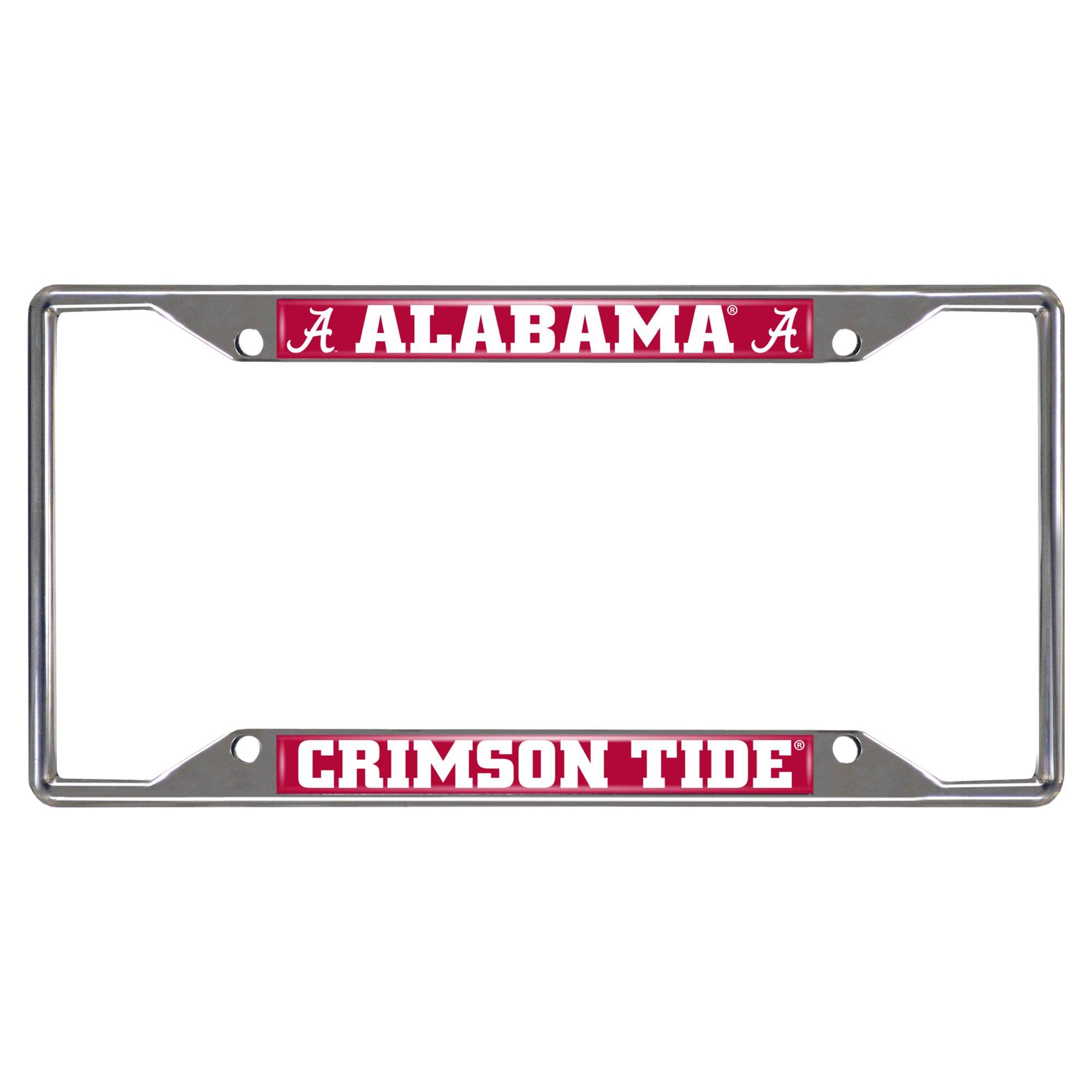 Fanmats NCAA University of Alabama Crimson Tide Chrome License Plate Frame