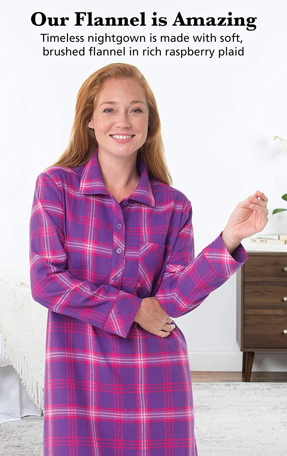 PajamaGram Women s Bright Plaid Flannel Nightgowns at Amazon Women s  Clothing store  0501c11b0