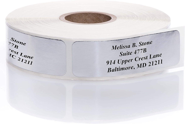 Silver Foil Rolled Address Labels Without Elegant Dispenser - Roll of 500