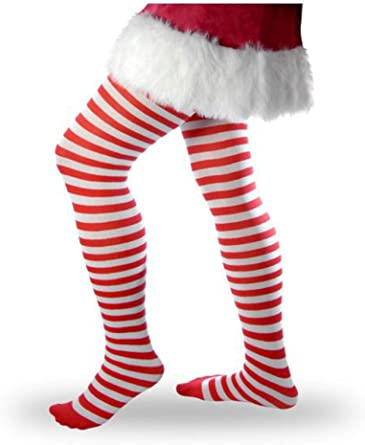 Elf Costume One Size Women/'s Red /& White Striped Tights