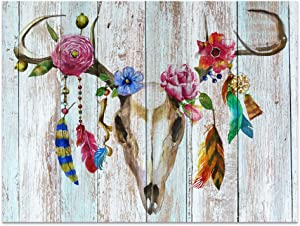 """Visual Art Decor Abstract Animals Deer Skull with Flowers Canvas Prints Retro Wood Background Skull Wall Art Decor(16""""x20"""", Flowers Skull)"""