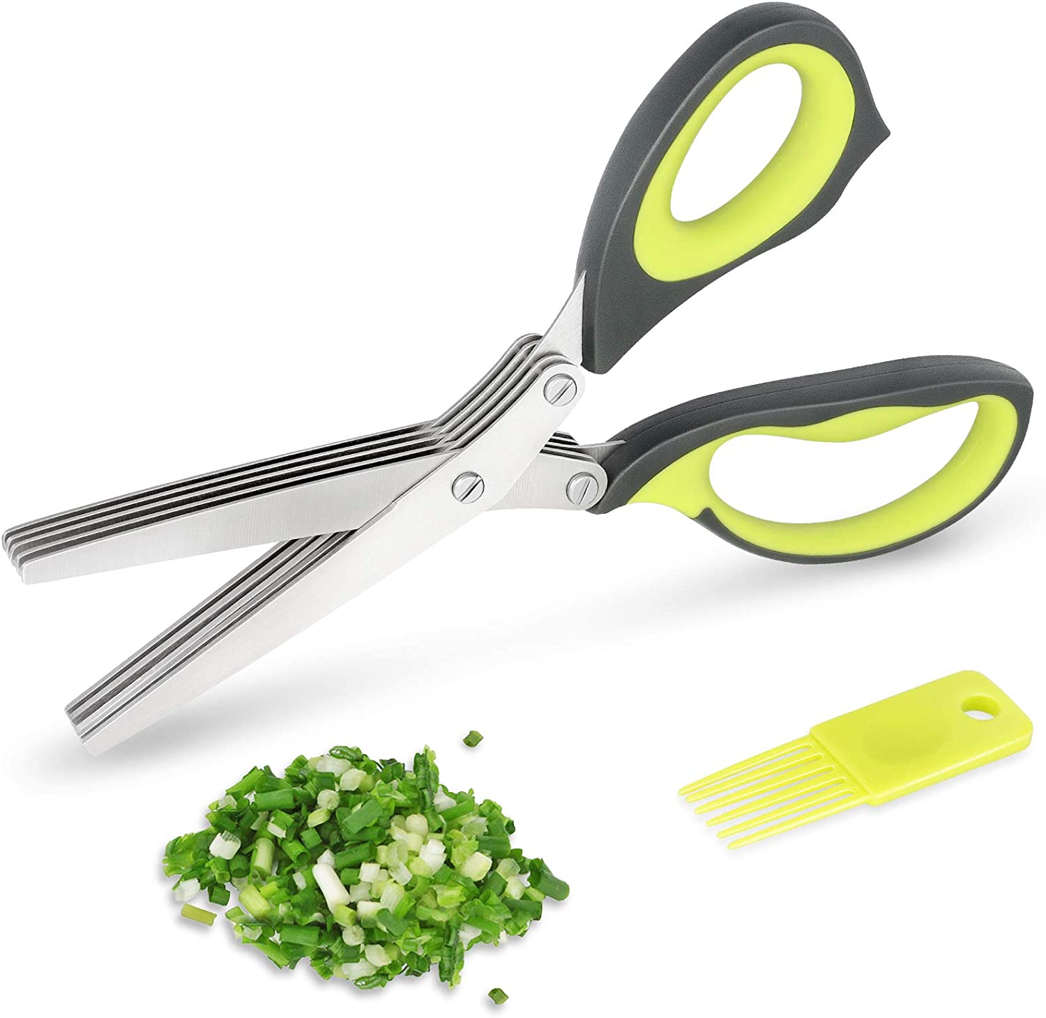 Asdirne Herb Scissors, 5-Layers Food-Grade Stainless Steel Blades, Triple-Fixing Stable Structure, Ergonomic Handle, Suitable for Herb Cutting or Making Salad, 9 Inch