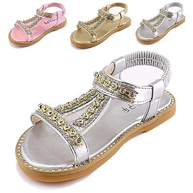 e1159c4c511d9 Evedaily Chaussures Confortable Mocassins Sandales en Cuir pour Enfant Bebe  Fille (Argent
