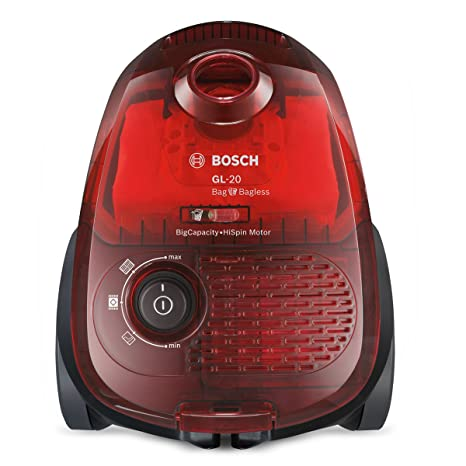Bosch BGL2UB1108 GL-20 Bag & Bagless - Aspirador con bolsa, diseño compacto, 600 W, color rojo traslúcido