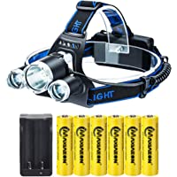 LED Rechargeable 8000 Lumens 18650 Headlamp Flashlight,Kit with 6PCS 3.7V High Capacity Rechargeable Battery + Batteries…