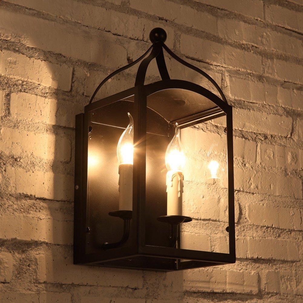 JiaYouJia インダストリアルロフト2ライトブラックメタルランタンウォールランプ 壁取り付け用燭台ウォールライト 屋内の壁ランプ 壁灯 レトロウォールライト 屋内外ウォールランプ 田舎風照明電気 トラディショナル照明器具 ブラケットライト 壁掛けライト 2ライト B075XGBG33 10900