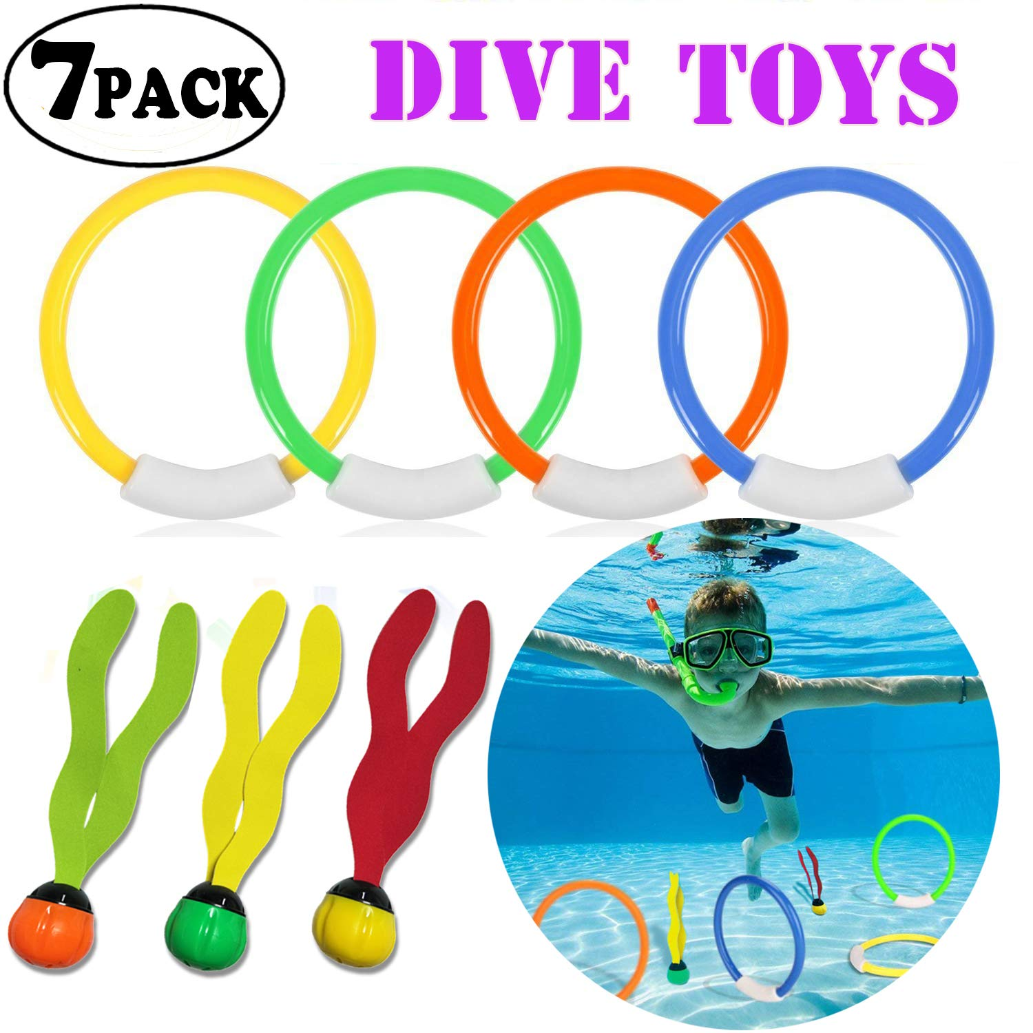 7 PACK Durable Swim Dive Pool Toy Set Diving Rings Aquatic Dive Balls Underwater Swimming Pool Toys for Kids Travel School Beach Outdoors Birthday Gifts ONMet