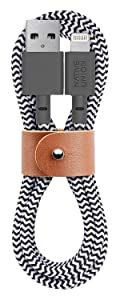 Native Union Belt Cable - 4ft Ultra-Strong Reinforced [Apple MFi Certified] Durable Lightning to USB Charging Cable with Leather Strap for iPhone/iPad (Zebra)