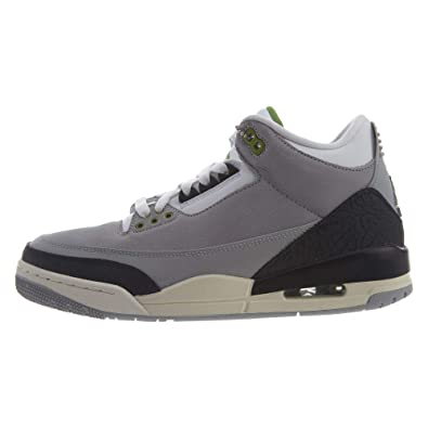 designer fashion a4cca f6d4b Jordan 136064-006  Mens Air 3 Retro Tinker Light Grey Chlorophyll Black