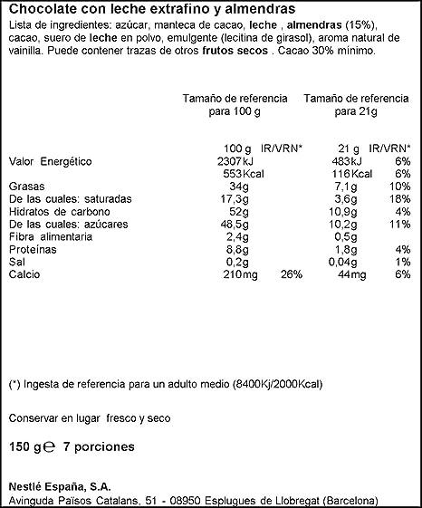 Nestlé Extrafino Chocolate con leche extrafino y almendras - 150 gr: Amazon.es: Alimentación y bebidas