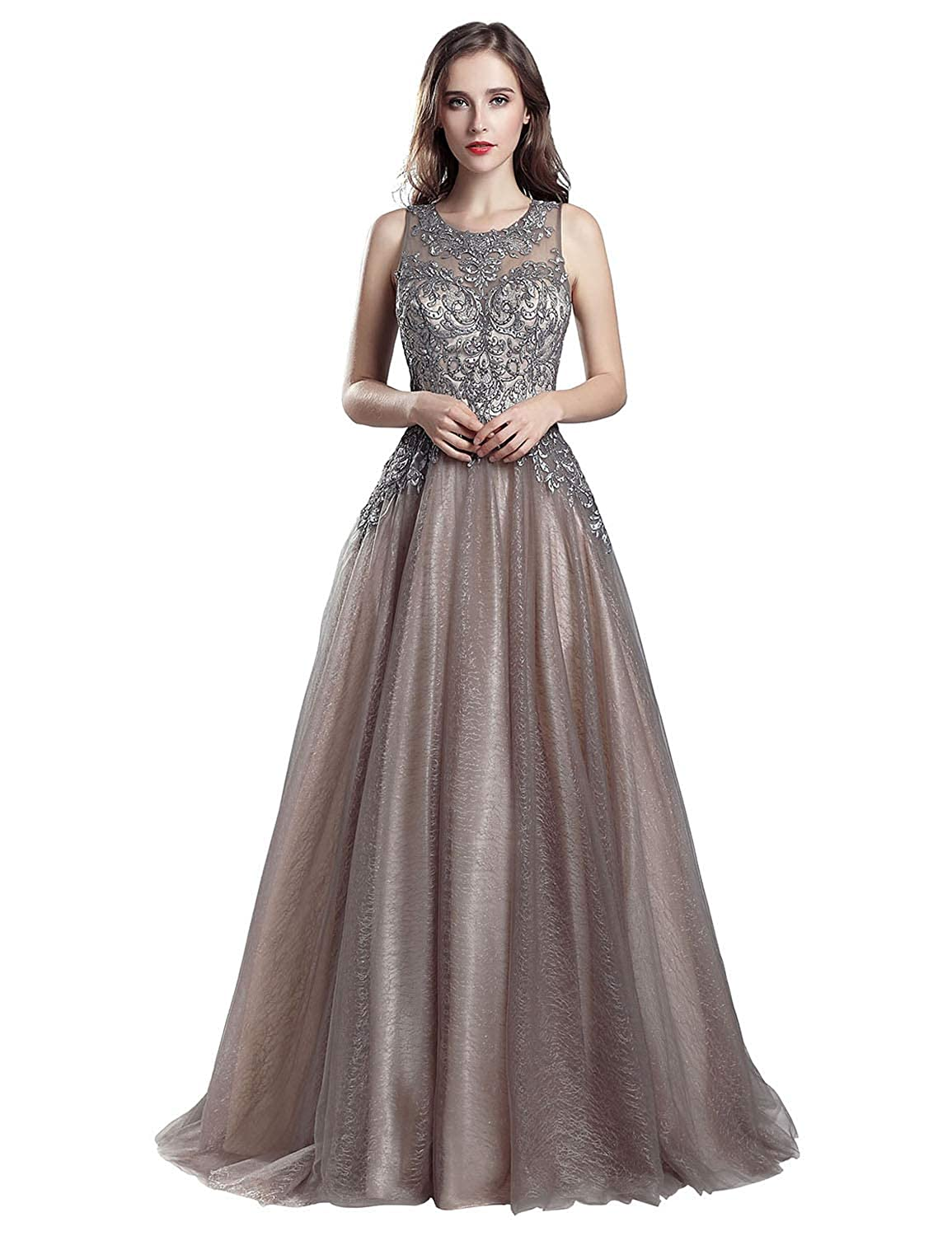 560mocha Sarahbridal Womens Lace Prom Dresses Formal Evening Gown with Half Sleeve SD328