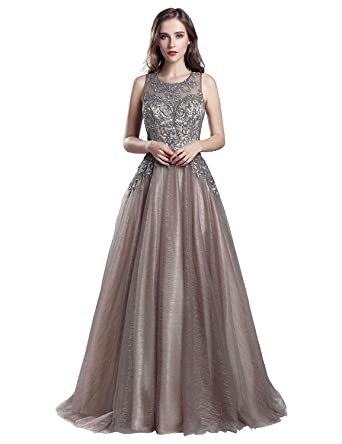 2d4b569dd56 Belle House Long Prom Dresses 2019 for Women Sheer Neck Tulle A Line Evening  Dress Ball Gown with Beaded at Amazon Women s Clothing store