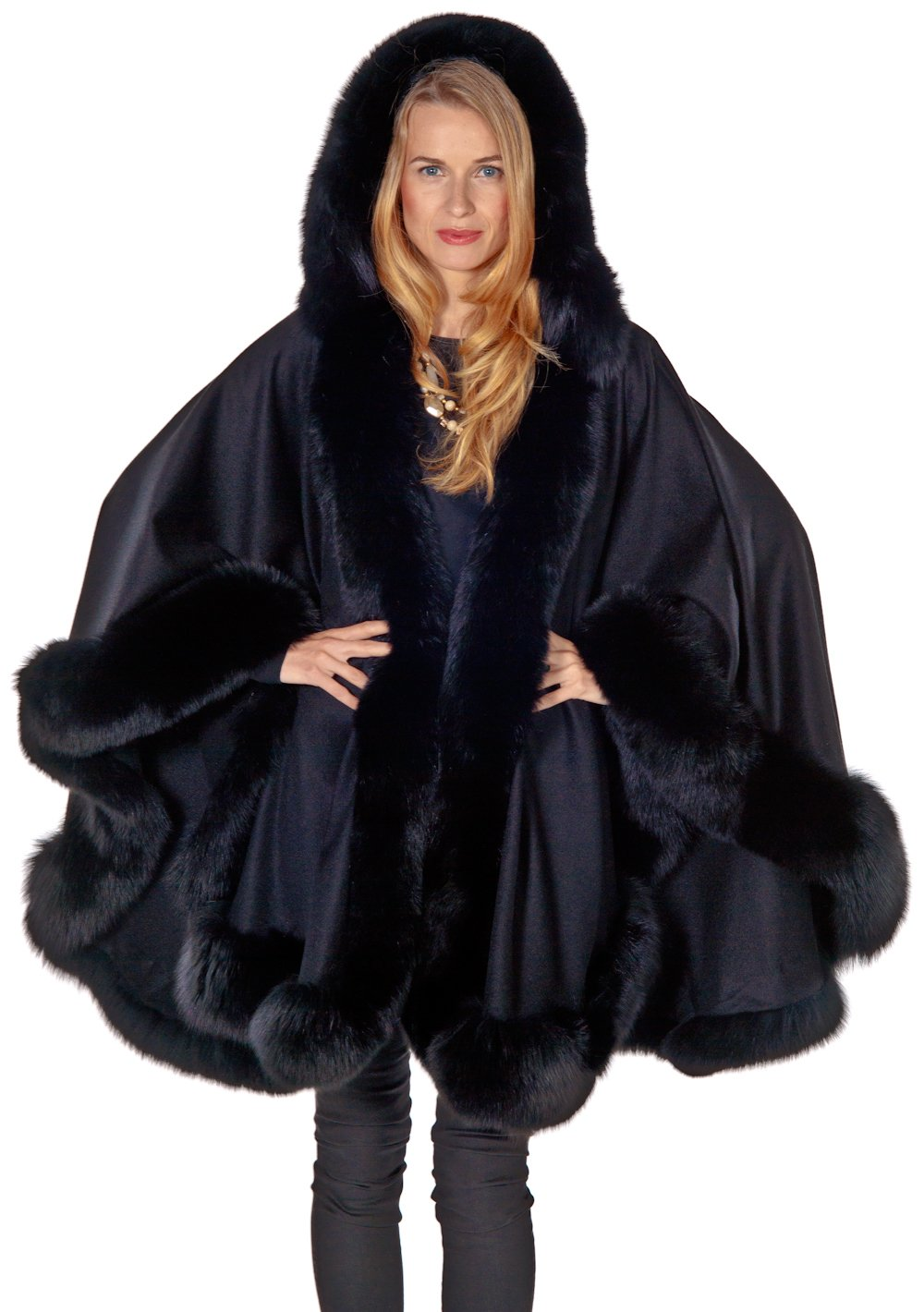 Madison Avenue Mall Womens Black Hooded Cashmere Cape With Fox Fur Trim