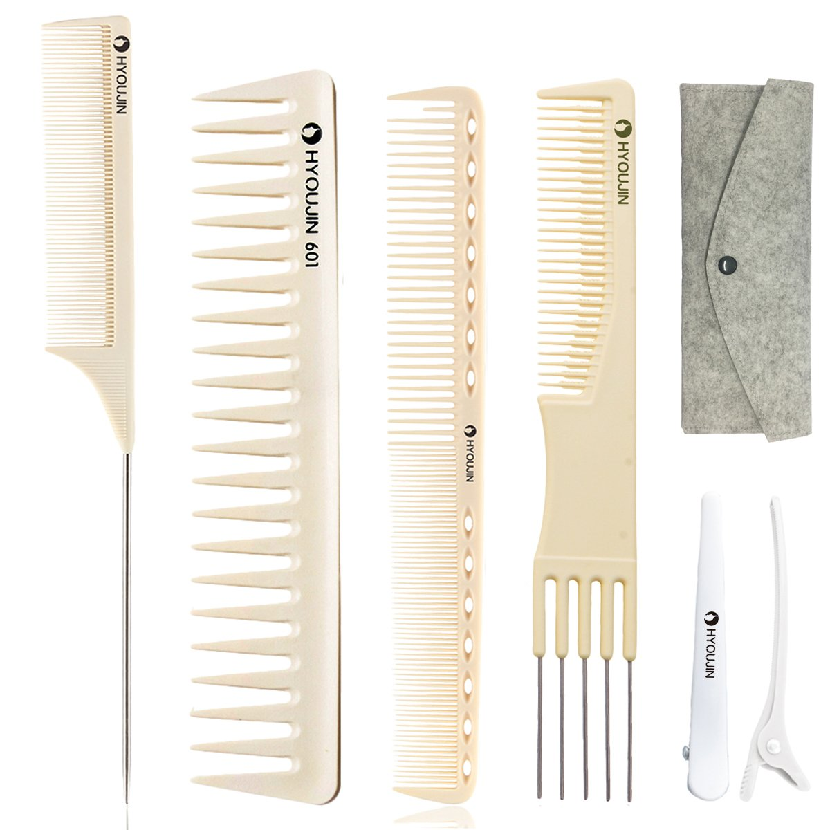 HYOUJIN 6in1 7ps Ivory White Professional Hair Styling Comb Set kit Beard Comb kit set & Heat-resistance w/Cutting Comb + Wide tooth comb + Pintail comb + 2 Hair Clips & Felt Pouch