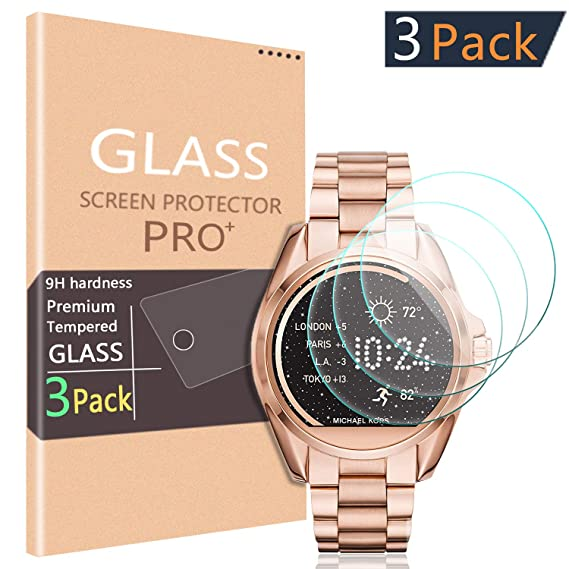 [3-Pack] PAZLOG Compatible for Michael Kors Access Bradshaw Tempered Glass Screen Protector with 2.5D Arc Edges 9H Hardness HD Anti-Scratch ...