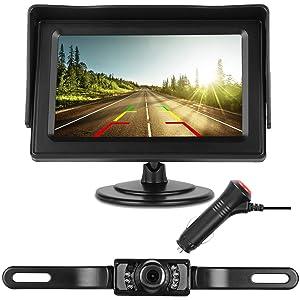 DohonesBest Backup Camera Single Power for Car/RV/Pickup/Truck Easy Installation 4.3'' Monitor Driving/Reversing High-Speed Observation System Parking Asistance System