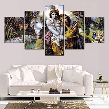 Dios hindú Radha Krishna Love HD Wall Art Lienzo póster e impresión Lienzo Pintura Imagen Decorativa para Sala de Estar decoración del hogar