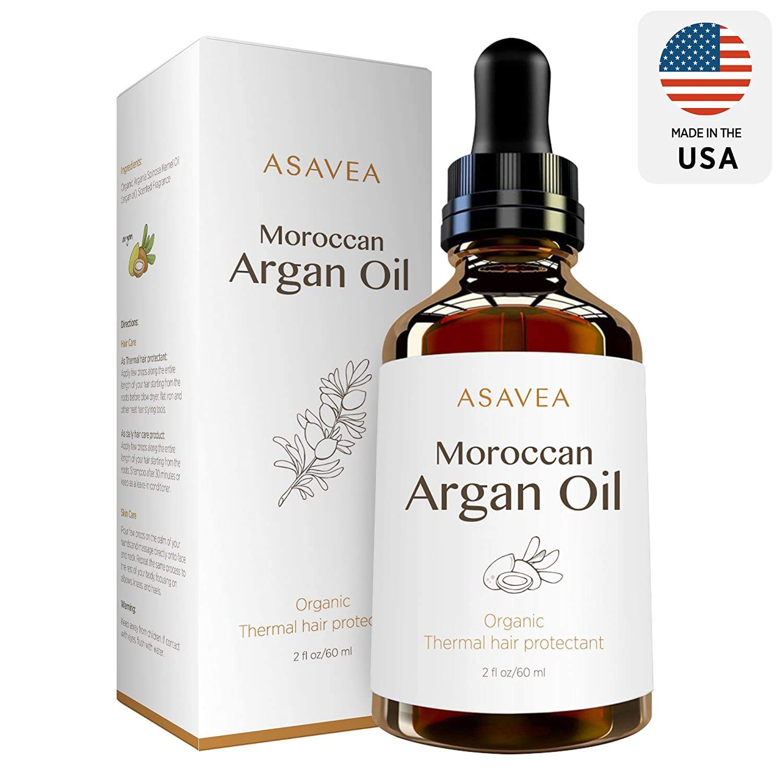 AsaVea 100% Pure Organic Moroccan Argan Oil Thermal hair protectant, USDA Certified Organic for Hair, Skin, beard & Nails Made in USA (2 fl. oz.)