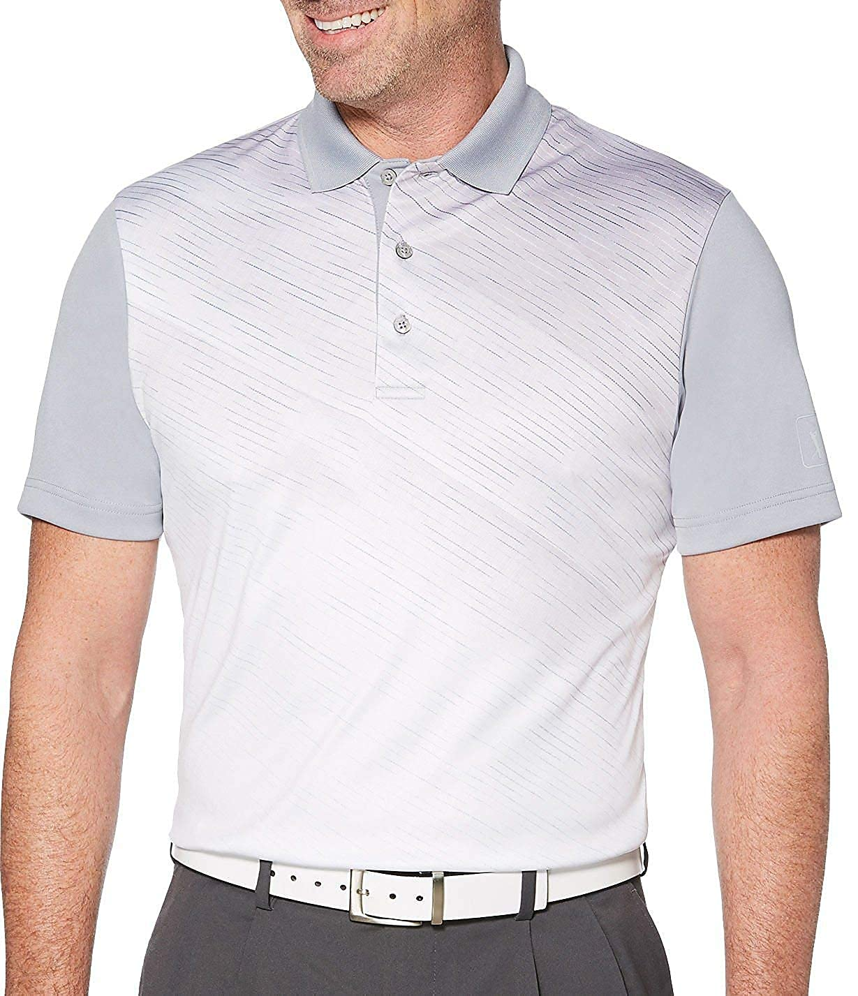 PGA TOUR Mens Pro Series Asymmetrical Gradient Polo Shirt P000526097