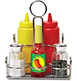 Melissa & Doug Condiments Set (6 pcs) - Play Food, Stainless Steel Caddy