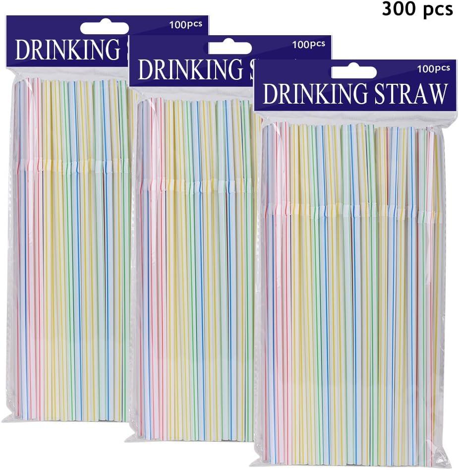 Olycism 300 Piezas Pajitas Potable Pajillas Multicolor Pajas de Cóctel Desechables de Plástico Flexible
