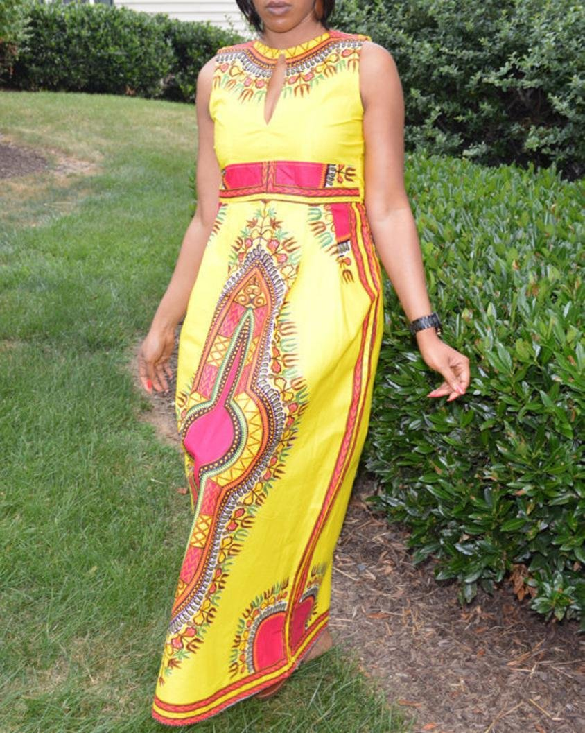 Sunward Women Vintage Traditional African Dress O-Neck Party Maxi Sleeveless Long Dress (Yellow, M)