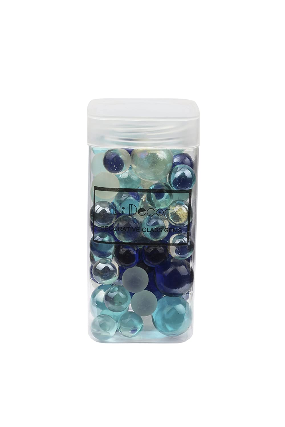 Home Decor Glass Marbles Mixed Blue 1.3 Pounds Bottle Non-Toxic Aquarium Decor Party Decor Birthday Decor Flowerpot Decor Table Scatter Fish Bowl Beads Vase Fillers Colorful Smooth Fun