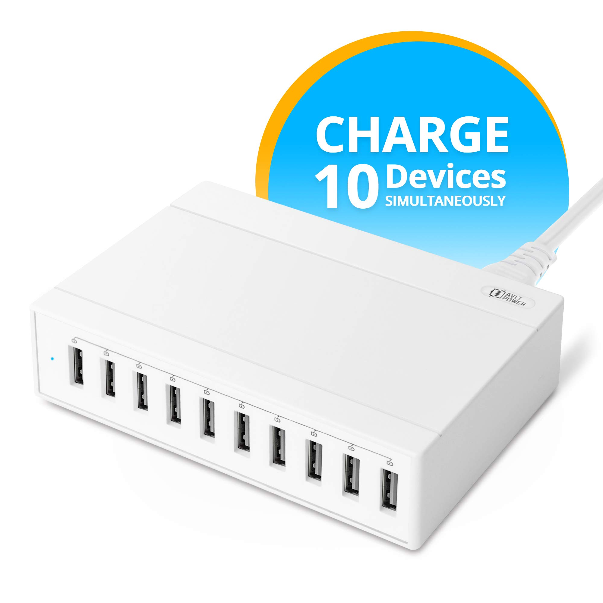 AVLT-Power 60Watt 10-Port USB Wall Charger, Portable USB Charger Multi Port for Travel, Office & Home. Compatible with iPhone, iPad, Android Phone&Tablet[White] by AVLT-Power