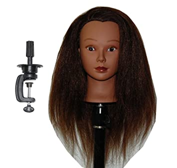 8d2861ce213a8 Amazon.com   Ethnic Afro Coarse 100% Real Hair Mannequin Head Hairdresser  Training Head Manikin Cosmetology Doll Head (HAZEL+C)   Beauty