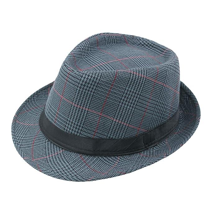 9deb09c0 Vintage Wide Brim Church Cap Plaid Gentleman Hats Jazz Caps Fedora Men  Fashion Woolen Dad Hat Blue at Amazon Men's Clothing store: