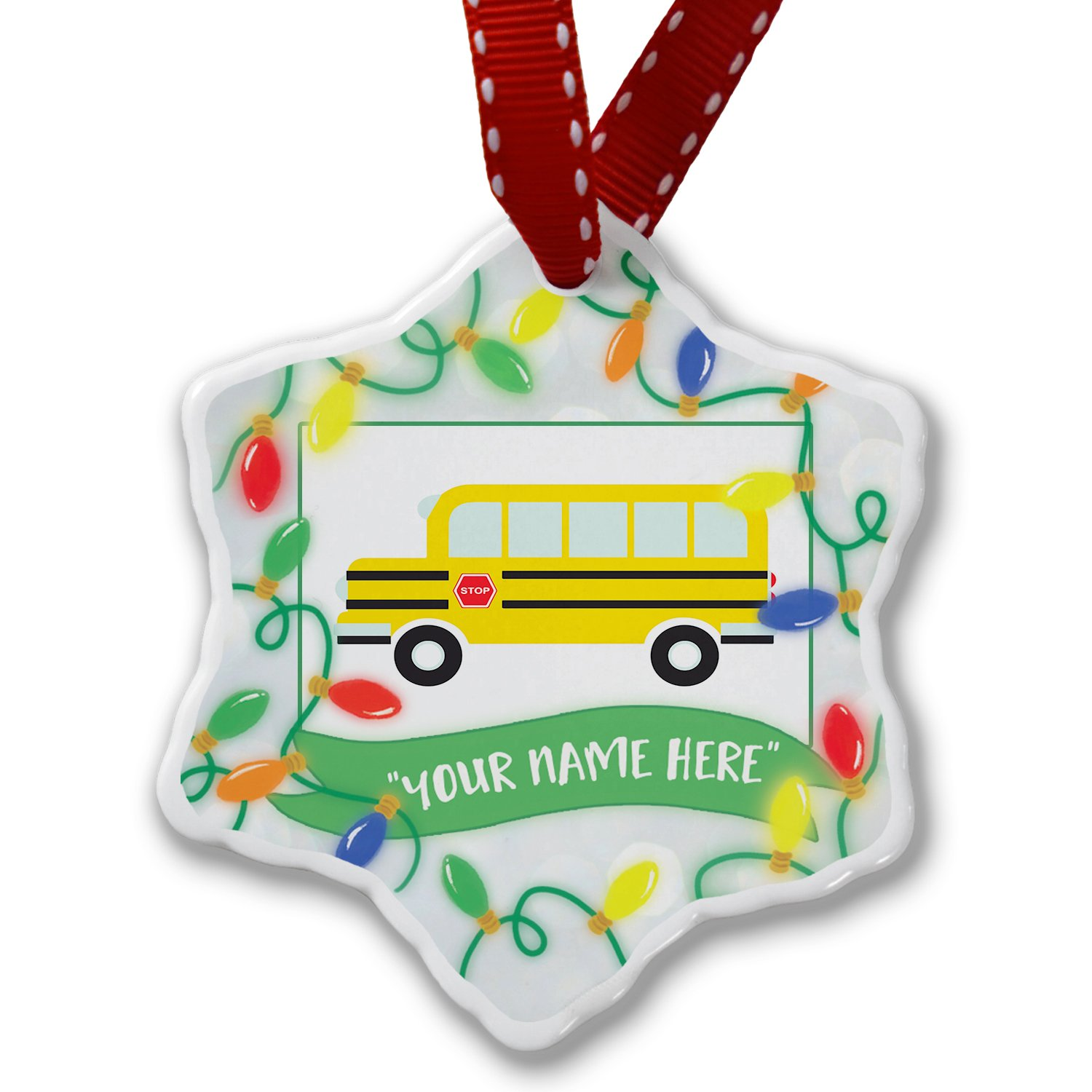 Personalized Name Christmas Ornament, Kids Design School Bus NEONBLOND