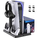 Suporte de ventoinha de refrigeração para console PlayStation 5 e PlayStation 5 Digital Edition, estação de carregamento de c