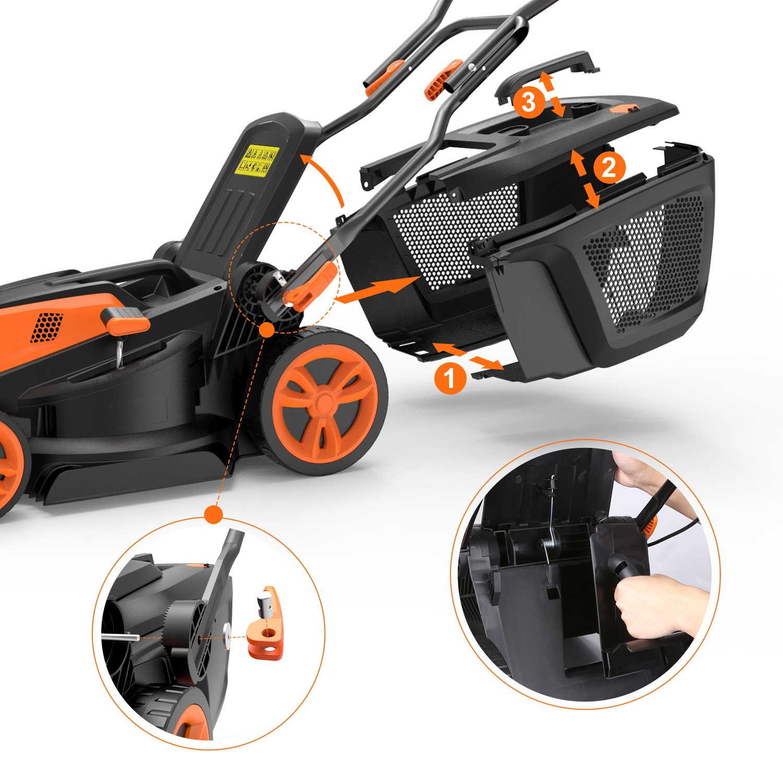 TACKLIFE - Cortacésped eléctrico, 1600 W, cortacésped, Ancho de ...