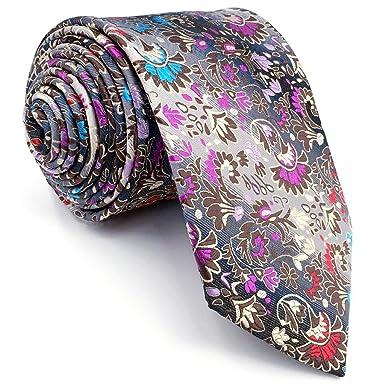 Shlax&Wing Corbata Flaca Corbatas Para Hombre Floral Multicolor ...