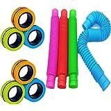 Litviz 10 Pcs Sensory Fidget Packs, Fidget Set ,Includes 6 PCS Magnetic Fidget Rings, 4 PCS Pop Tubes, Stress Relief and Anxi