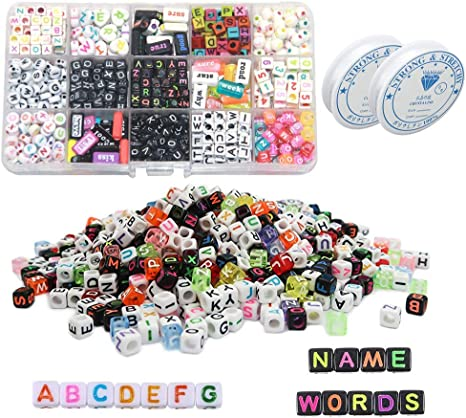 Naler 800pcs 6 mm Acrylic Alphabet Letter Beads A-Z Cube Beads 4 Colors with Colorful Beads for Kids Craft Weaving DIY Bracelets Necklace