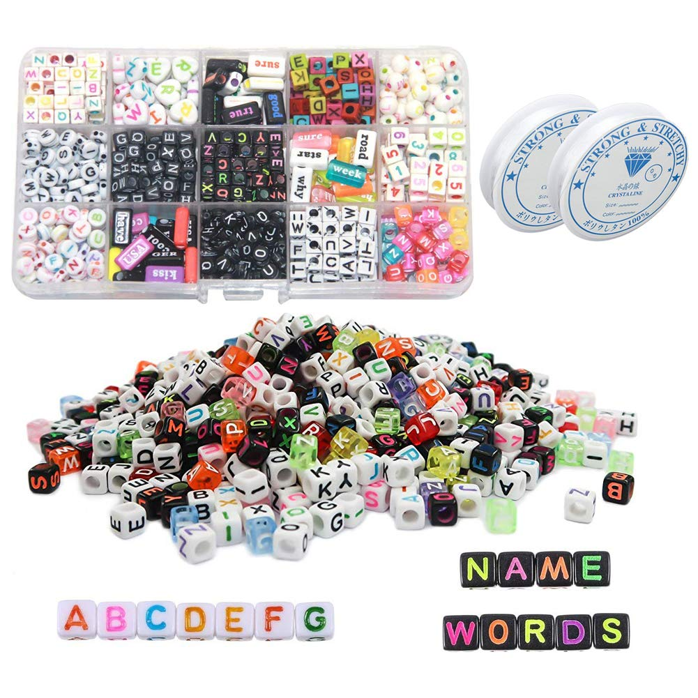 800pcs Alphabets Beads,Simuer Acrylic Round Letter Beads 4x7mm for Bracelets Necklaces Key Chains Jewelry Making with Thread 0.8mm Crystal String Cord DIY Childrens Educational Toys