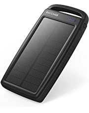 RAVPower Solar Charger 20000mAh Portable Charger Solar Power Bank Dual USB External Battery Pack Power Pack with Flashlight for Outdoor, Black