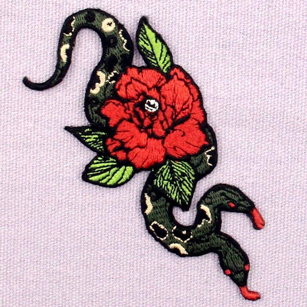 Parche termoadhesivo para la ropa, diseño de Serpiente y flor de ...